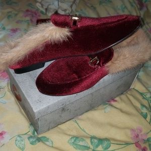 Shoes - Burgundy Fluffy Slides/Mules